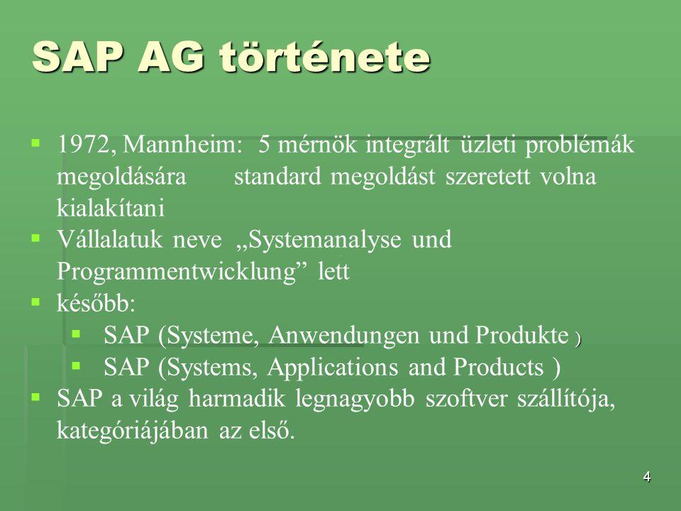 """4   1972, Mannheim: 5 mérnök integrált üzleti problémák megoldására standard megoldást szeretett volna kialakítani   Vállalatuk neve """"Systemanalys"""