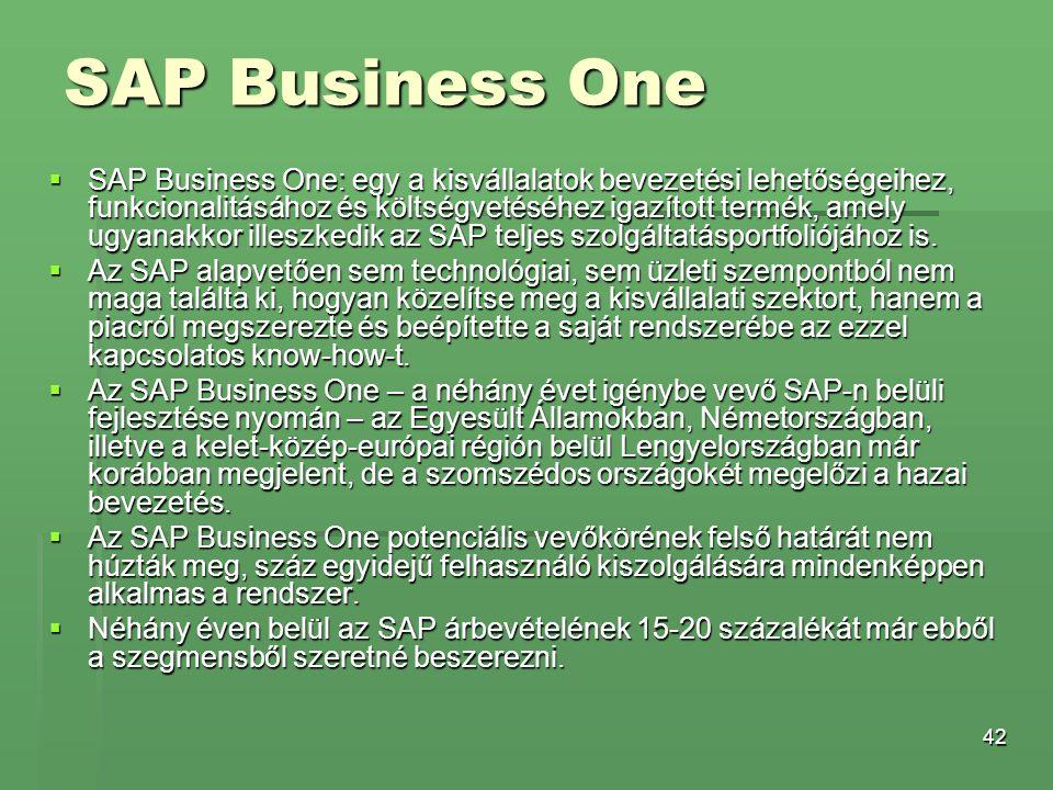 42 SAP Business One  SAP Business One: egy a kisvállalatok bevezetési lehetőségeihez, funkcionalitásához és költségvetéséhez igazított termék, amely
