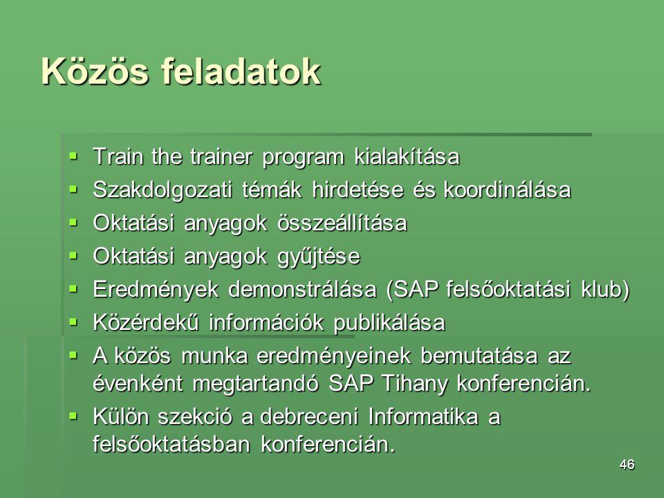 46 Közös feladatok  Train the trainer program kialakítása  Szakdolgozati témák hirdetése és koordinálása  Oktatási anyagok összeállítása  Oktatási
