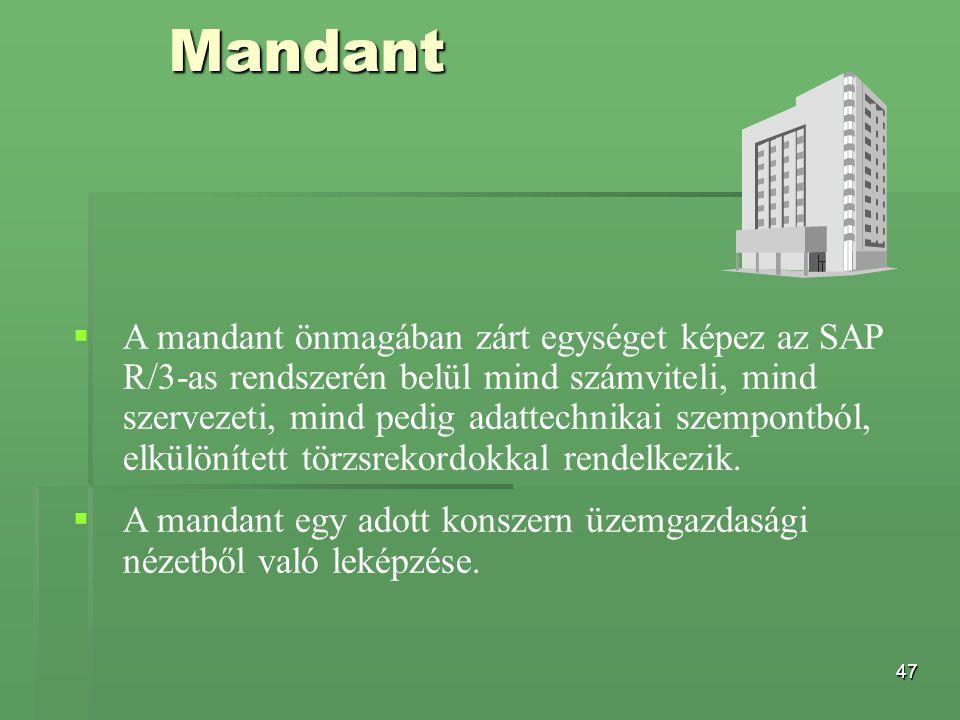 47 Mandant   A mandant önmagában zárt egységet képez az SAP R/3-as rendszerén belül mind számviteli, mind szervezeti, mind pedig adattechnikai szemp
