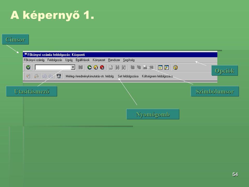 54 A képernyő 1. Opciók Címsor UtasításmezőSzimbólumsor Nyomógomb