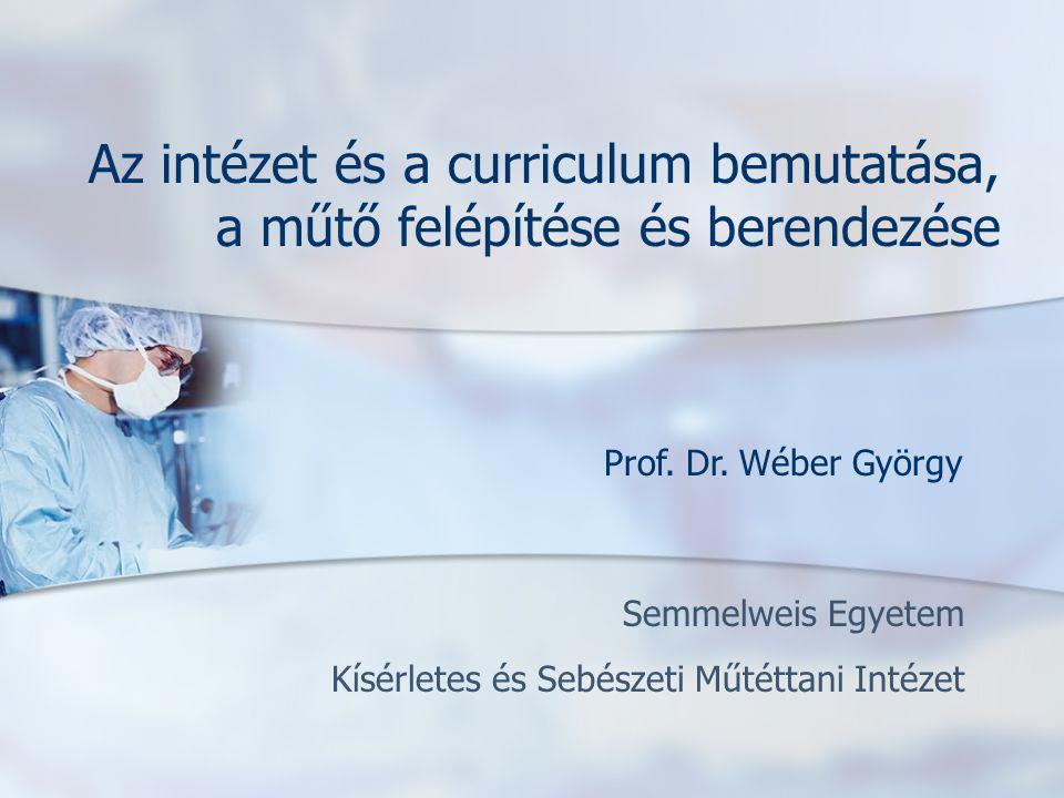 Semmelweis Egyetem Kísérletes és Sebészeti Műtéttani Intézet Az intézet és a curriculum bemutatása, a műtő felépítése és berendezése Prof. Dr. Wéber G