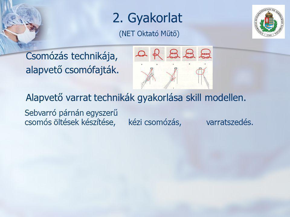 2. Gyakorlat (NET Oktató Műtő) Csomózás technikája, alapvető csomófajták. Alapvető varrat technikák gyakorlása skill modellen. Sebvarró párnán egyszer