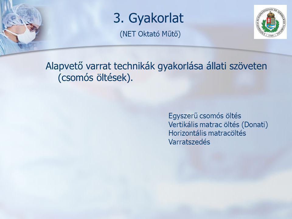 3. Gyakorlat (NET Oktató Műtő) Alapvető varrat technikák gyakorlása állati szöveten (csomós öltések). Egyszerű csomós öltés Vertikális matrac öltés (D