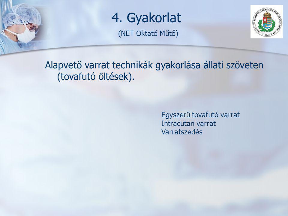4. Gyakorlat (NET Oktató Műtő) Alapvető varrat technikák gyakorlása állati szöveten (tovafutó öltések). Egyszerű tovafutó varrat Intracutan varrat Var