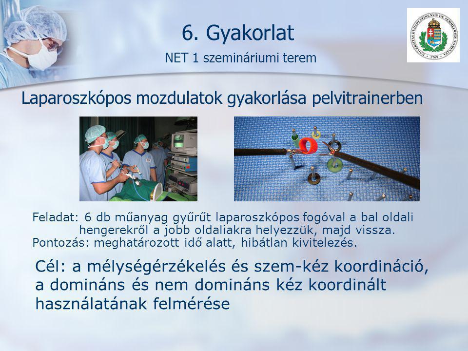 6. Gyakorlat NET 1 szemináriumi terem Laparoszkópos mozdulatok gyakorlása pelvitrainerben Feladat: 6 db műanyag gyűrűt laparoszkópos fogóval a bal old