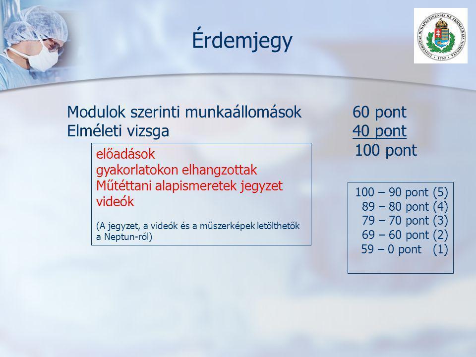 Érdemjegy Modulok szerinti munkaállomások60 pont Elméleti vizsga40 pont 100 pont 100 – 90 pont (5) 89 – 80 pont (4) 79 – 70 pont (3) 69 – 60 pont (2)