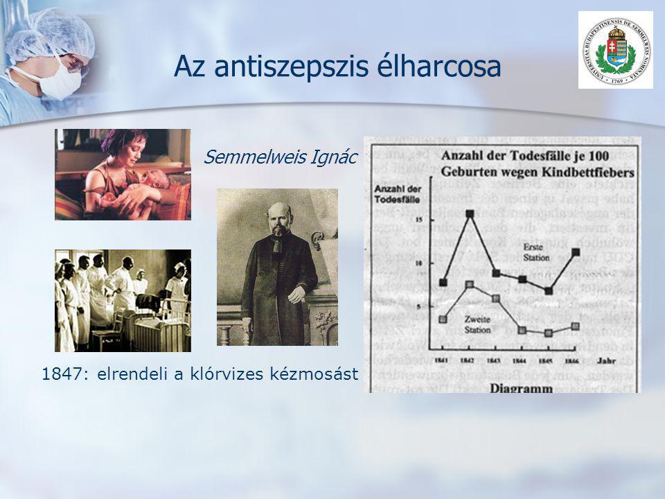 Az antiszepszis élharcosa Semmelweis Ignác 1847: elrendeli a klórvizes kézmosást