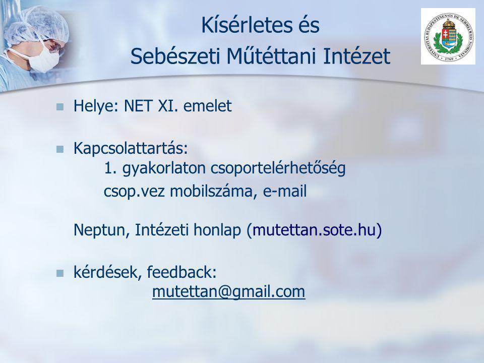 Kísérletes és Sebészeti Műtéttani Intézet   Helye: NET XI. emelet   Kapcsolattartás: 1. gyakorlaton csoportelérhetőség csop.vez mobilszáma, e-mail