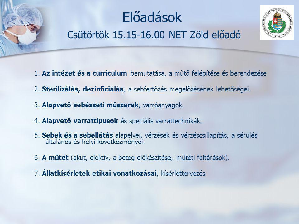 Előadások Csütörtök 15.15-16.00 NET Zöld előadó 1. Az intézet és a curriculum bemutatása, a műtő felépítése és berendezése 2. Sterilizálás, dezinficiá