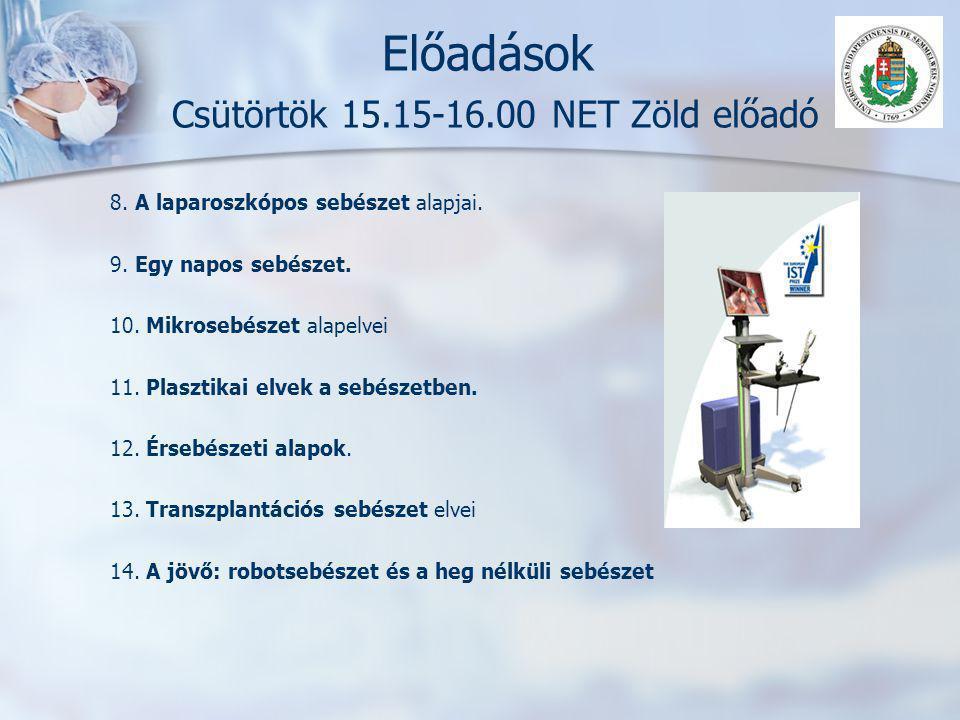 Előadások Csütörtök 15.15-16.00 NET Zöld előadó 8. A laparoszkópos sebészet alapjai. 9. Egy napos sebészet. 10. Mikrosebészet alapelvei 11. Plasztikai