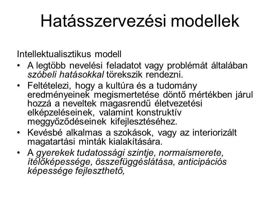 Hatásszervezési modellek Intellektualisztikus modell •A legtöbb nevelési feladatot vagy problémát általában szóbeli hatásokkal törekszik rendezni.