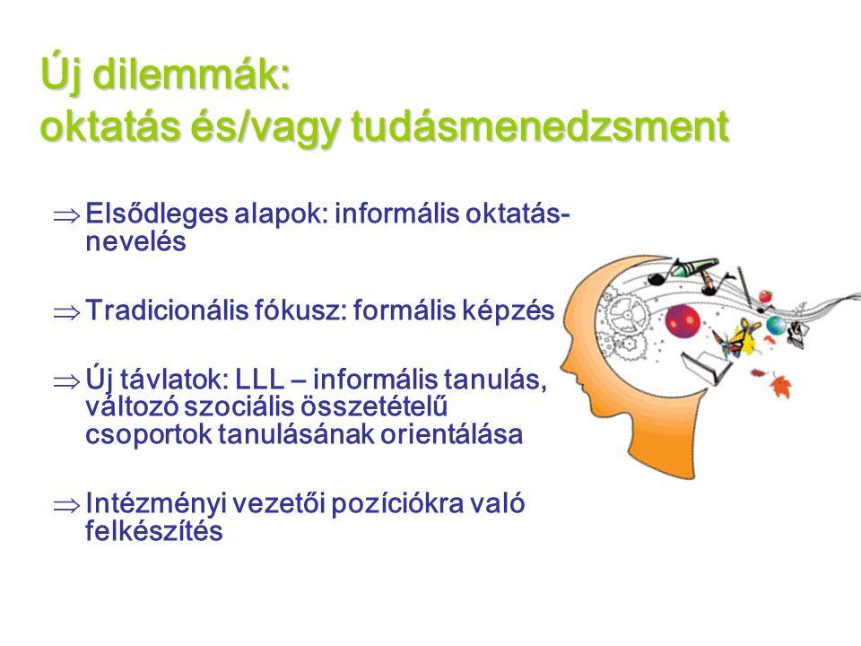 Új dilemmák: oktatás és/vagy tudásmenedzsment  Elsődleges alapok: informális oktatás- nevelés  Tradicionális fókusz: formális képzés  Új távlatok: LLL – informális tanulás, változó szociális összetételű csoportok tanulásának orientálása  Intézményi vezetői pozíciókra való felkészítés