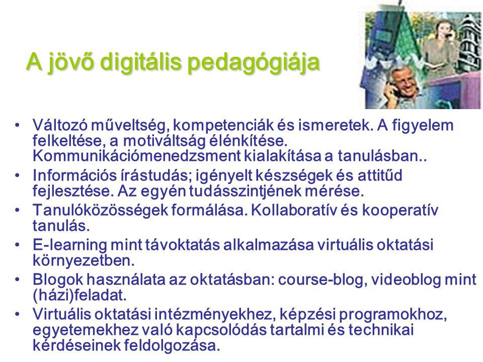 A jövő digitális pedagógiája •Változó műveltség, kompetenciák és ismeretek.