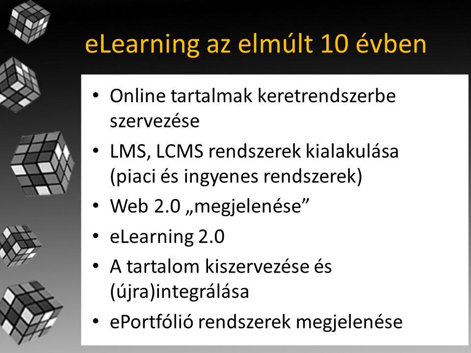 """eLearning az elmúlt 10 évben • Online tartalmak keretrendszerbe szervezése • LMS, LCMS rendszerek kialakulása (piaci és ingyenes rendszerek) • Web 2.0 """"megjelenése • eLearning 2.0 • A tartalom kiszervezése és (újra)integrálása • ePortfólió rendszerek megjelenése"""