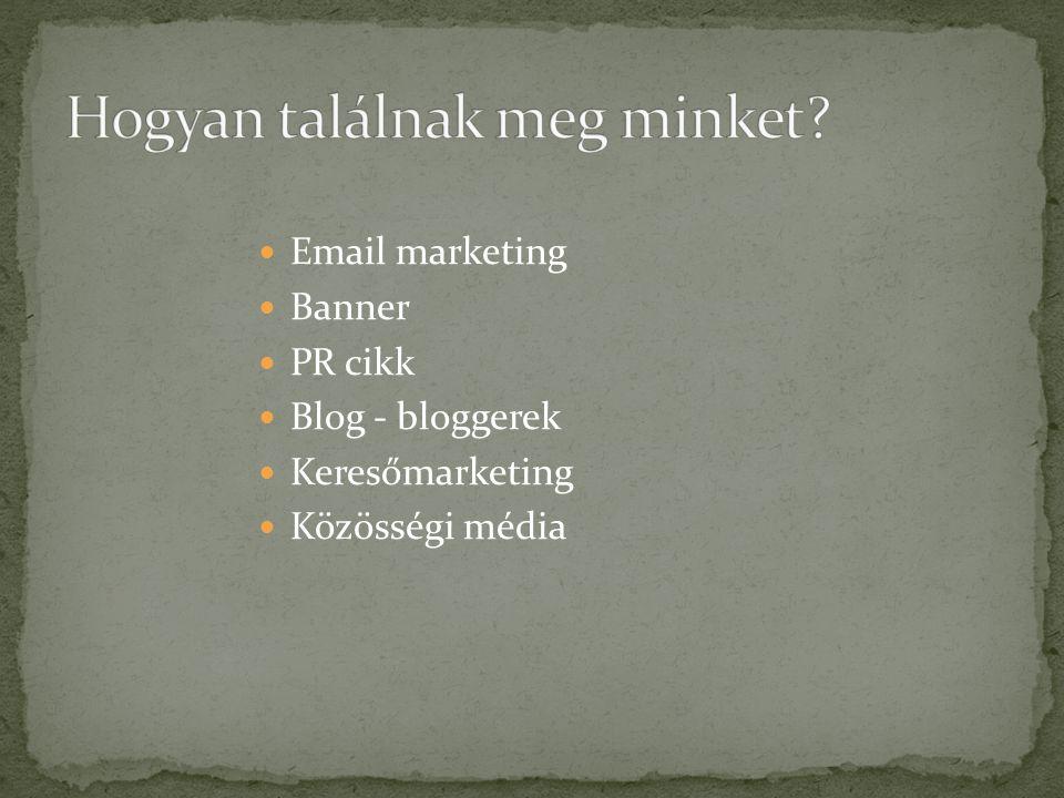  Email marketing  Banner  PR cikk  Blog - bloggerek  Keresőmarketing  Közösségi média