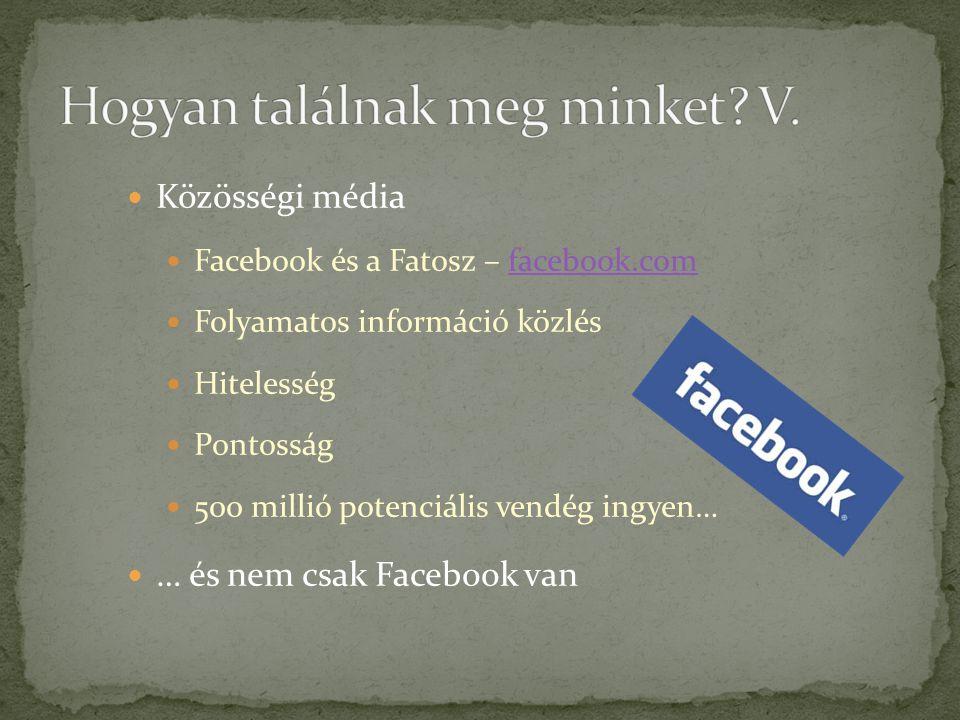  Közösségi média  Facebook és a Fatosz – facebook.comfacebook.com  Folyamatos információ közlés  Hitelesség  Pontosság  500 millió potenciális v