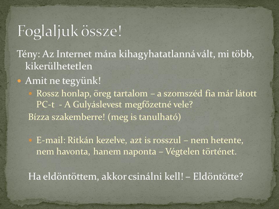 Tény: Az Internet mára kihagyhatatlanná vált, mi több, kikerülhetetlen  Amit ne tegyünk!  Rossz honlap, öreg tartalom – a szomszéd fia már látott PC
