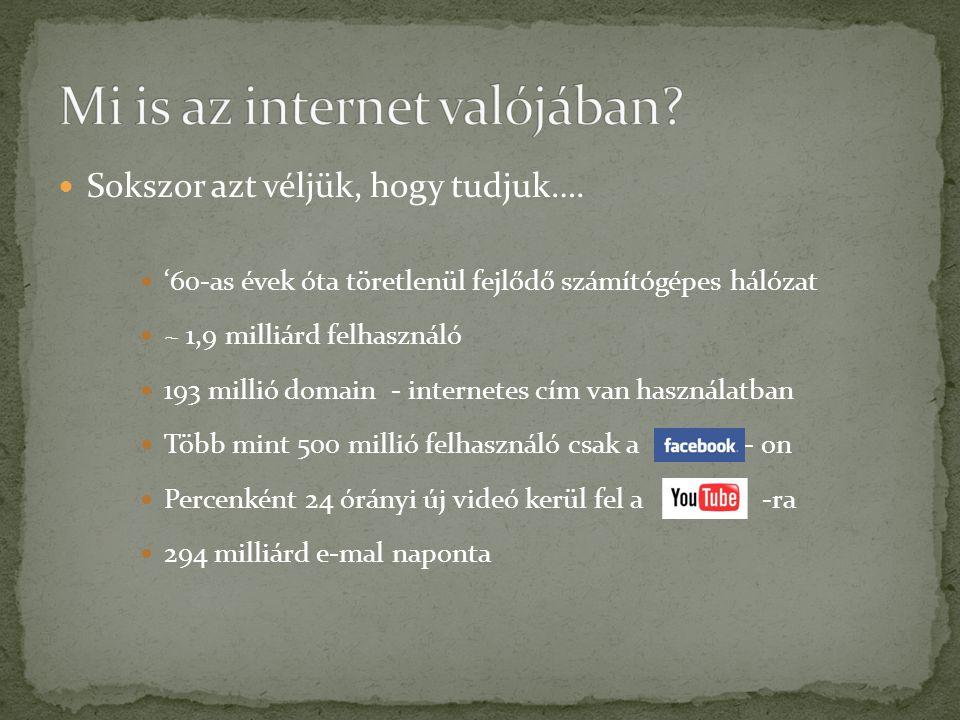  Sokszor azt véljük, hogy tudjuk….  '60-as évek óta töretlenül fejlődő számítógépes hálózat  ~ 1,9 milliárd felhasználó  193 millió domain - inter
