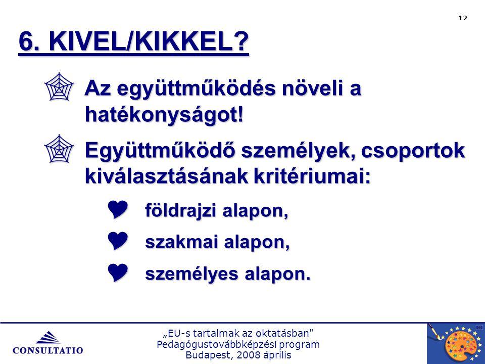 """""""EU-s tartalmak az oktatásban Pedagógustovábbképzési program Budapest, 2008 április 12 6."""