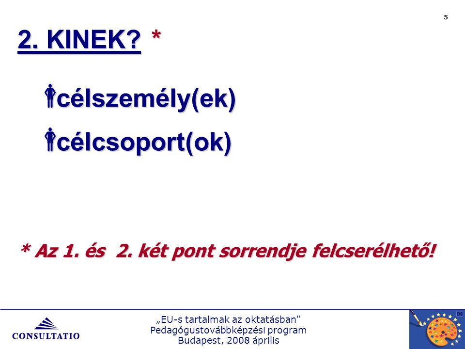 """""""EU-s tartalmak az oktatásban Pedagógustovábbképzési program Budapest, 2008 április 5 2."""