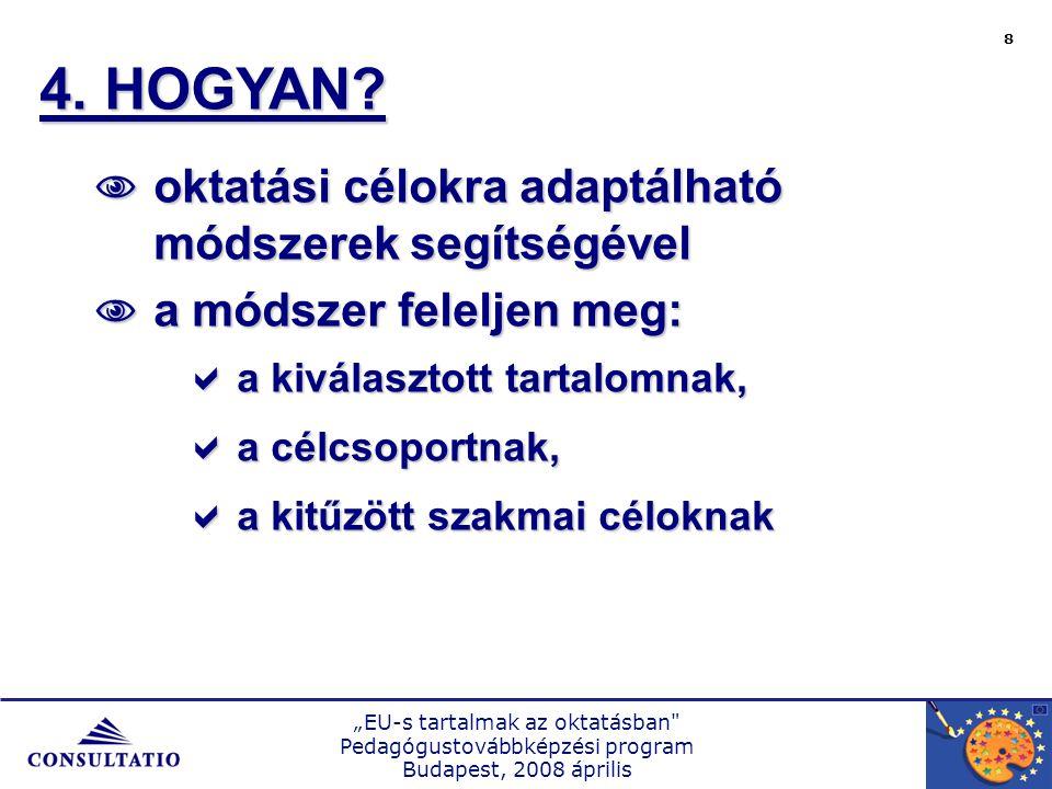 """""""EU-s tartalmak az oktatásban Pedagógustovábbképzési program Budapest, 2008 április 8 4."""