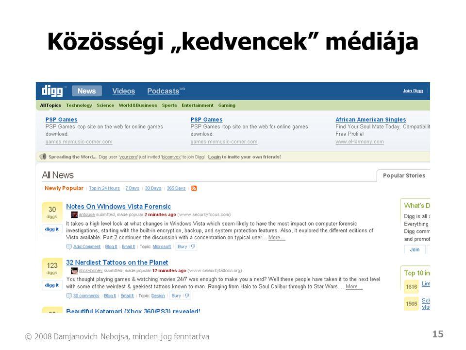 """© 2008 Damjanovich Nebojsa, minden jog fenntartva 15 Közösségi """"kedvencek"""" médiája"""