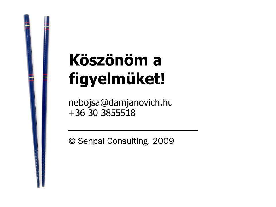 nebojsa@damjanovich.hu +36 30 3855518 _________________________ © Senpai Consulting, 2009 Köszönöm a figyelmüket!
