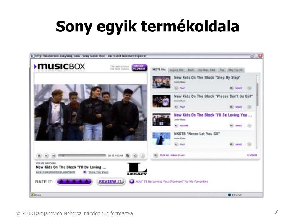 7 Sony egyik termékoldala