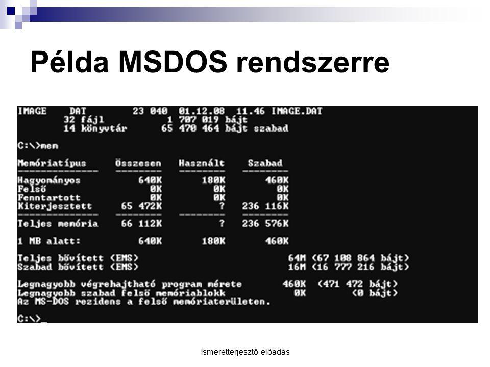 Ismeretterjesztő előadás Példa MSDOS rendszerre