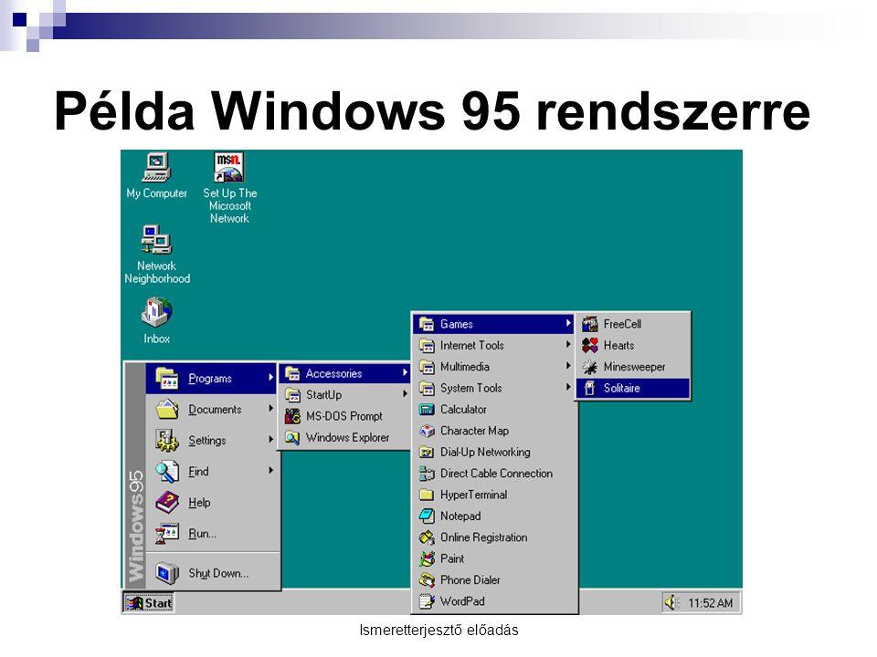 Ismeretterjesztő előadás Példa Windows 95 rendszerre