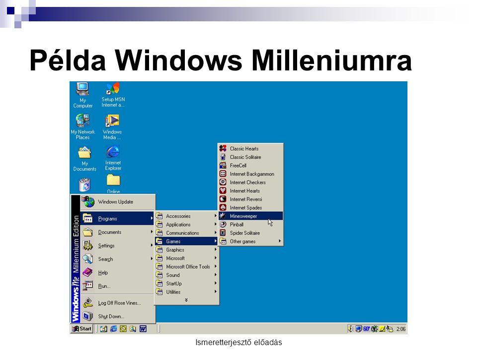 Ismeretterjesztő előadás Példa Windows Milleniumra