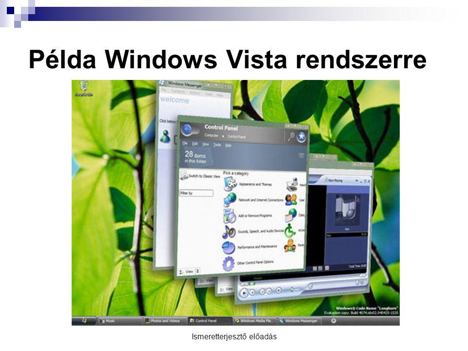 Ismeretterjesztő előadás Példa Windows Vista rendszerre