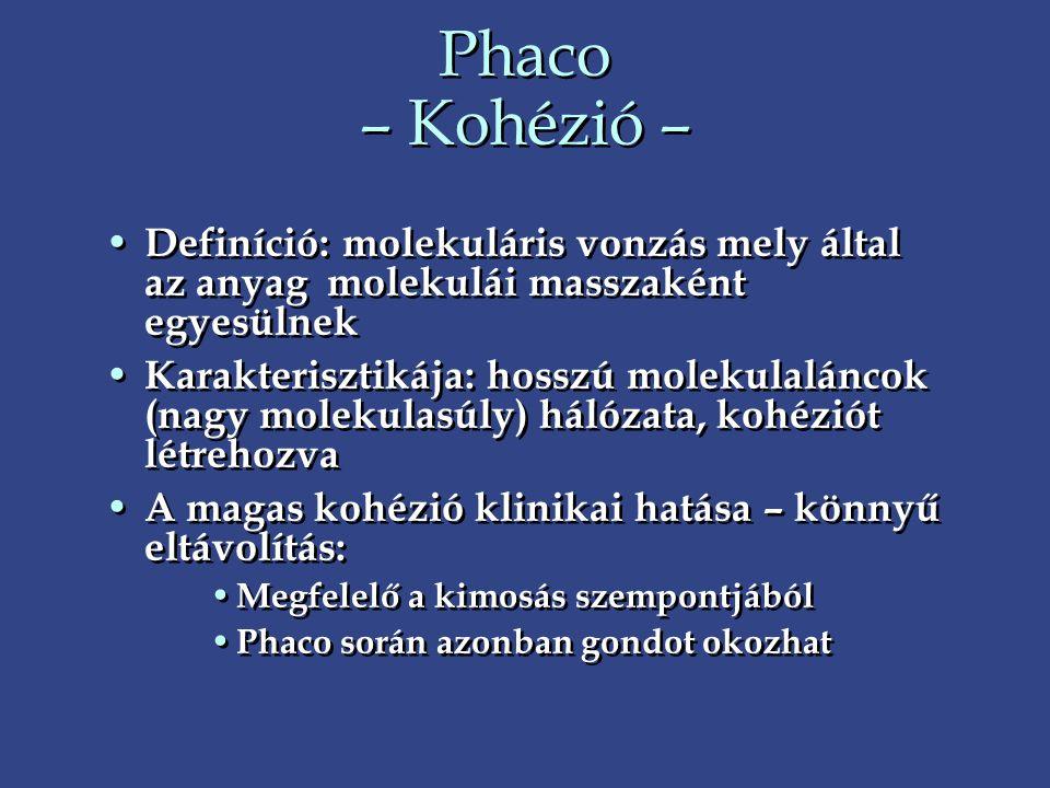 Phaco – Kohézió – • Definíció: molekuláris vonzás mely által az anyag molekulái masszaként egyesülnek • Karakterisztikája: hosszú molekulaláncok (nagy