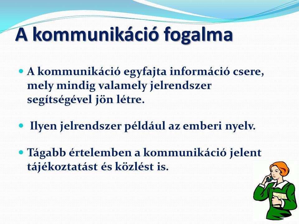 A kommunikáció fogalma  A kommunikáció egyfajta információ csere, mely mindig valamely jelrendszer segítségével jön létre.  Ilyen jelrendszer példáu