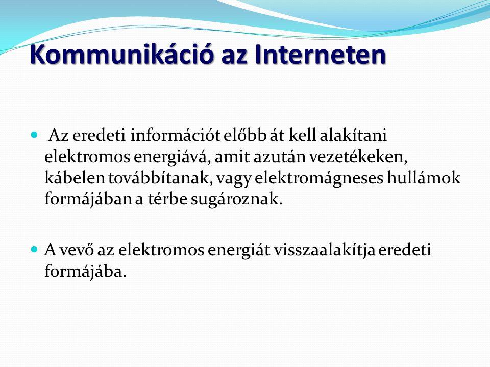 Kommunikáció az Interneten  Az eredeti információt előbb át kell alakítani elektromos energiává, amit azután vezetékeken, kábelen továbbítanak, vagy