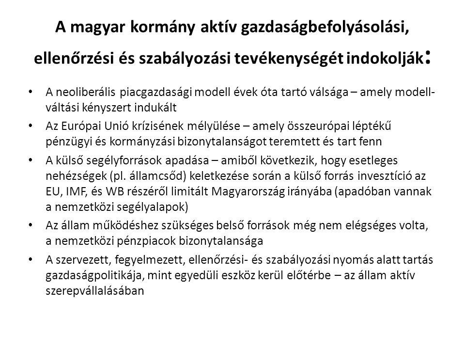A magyar kormány aktív gazdaságbefolyásolási, ellenőrzési és szabályozási tevékenységét indokolják : • A neoliberális piacgazdasági modell évek óta ta