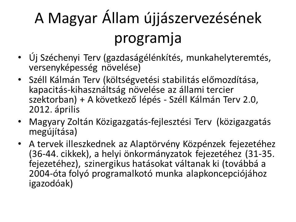 A Magyar Állam újjászervezésének programja • Új Széchenyi Terv (gazdaságélénkítés, munkahelyteremtés, versenyképesség növelése) • Széll Kálmán Terv (k
