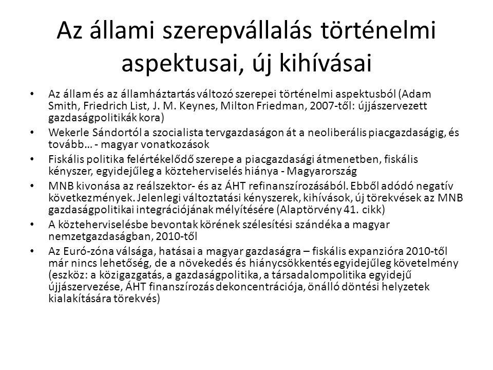 Szakirodalmi háttér • Polgári Közgazdasági Műhely szakmai háttéranyagai, vitairatai, kormányprogramok http://www.polgariszemle.hu/app/interface.php?view=v_pkm • Lentner, Cs.