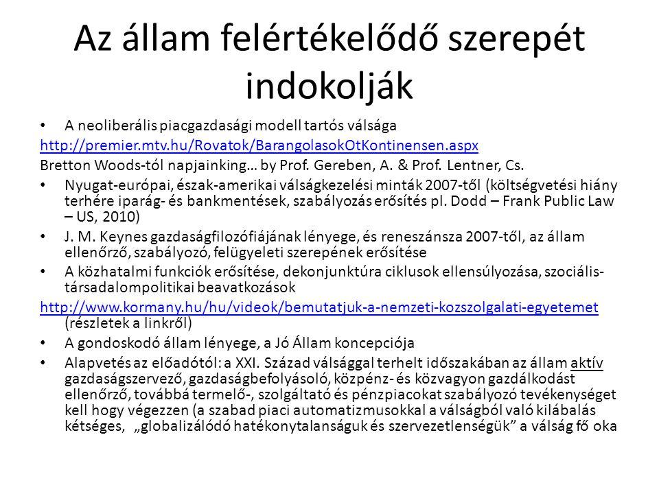 Az állam felértékelődő szerepét indokolják • A neoliberális piacgazdasági modell tartós válsága http://premier.mtv.hu/Rovatok/BarangolasokOtKontinense