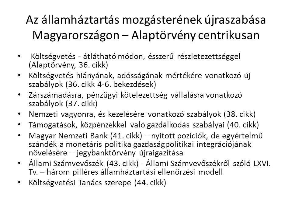 Az államháztartás mozgásterének újraszabása Magyarországon – Alaptörvény centrikusan • Költségvetés - átlátható módon, ésszerű részletezettséggel (Ala
