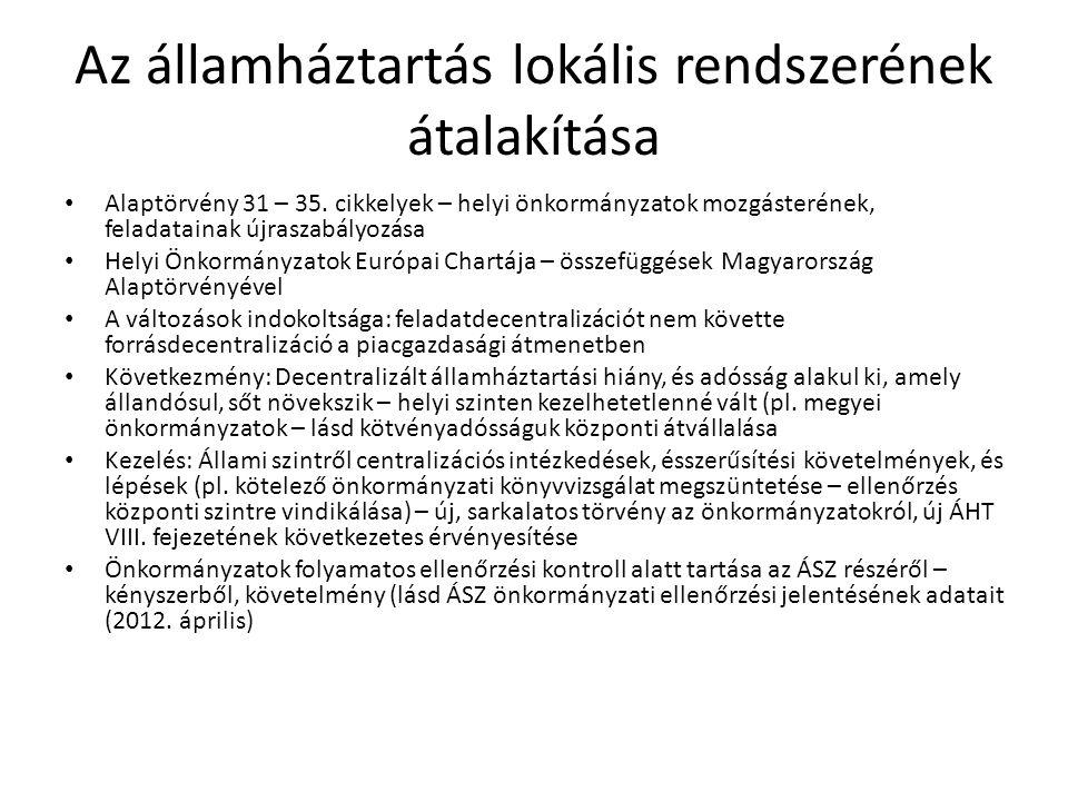 Az államháztartás lokális rendszerének átalakítása • Alaptörvény 31 – 35. cikkelyek – helyi önkormányzatok mozgásterének, feladatainak újraszabályozás