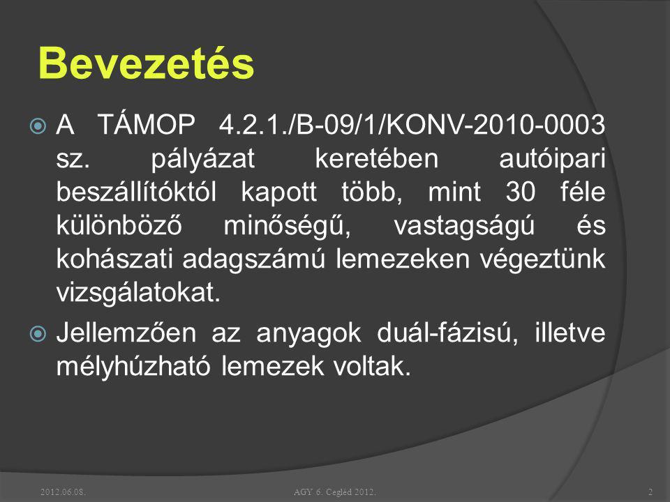 Bevezetés  A TÁMOP 4.2.1./B-09/1/KONV-2010-0003 sz. pályázat keretében autóipari beszállítóktól kapott több, mint 30 féle különböző minőségű, vastags