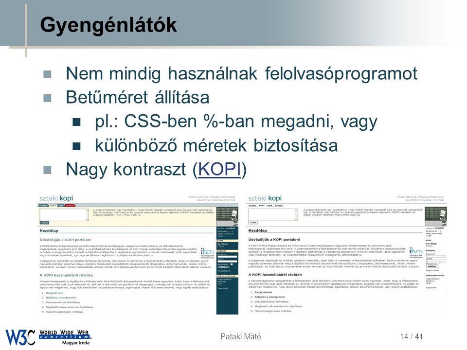 DSD Pataki Máté14 / 41 Gyengénlátók  Nem mindig használnak felolvasóprogramot  Betűméret állítása  pl.: CSS-ben %-ban megadni, vagy  különböző mér