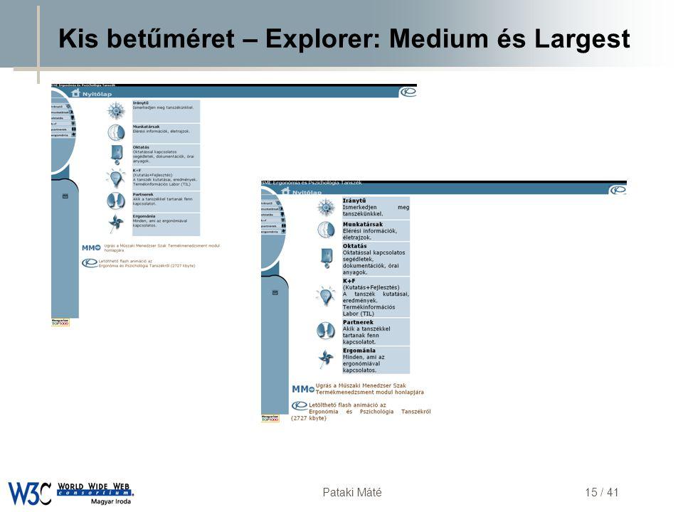 DSD Pataki Máté15 / 41 Kis betűméret – Explorer: Medium és Largest