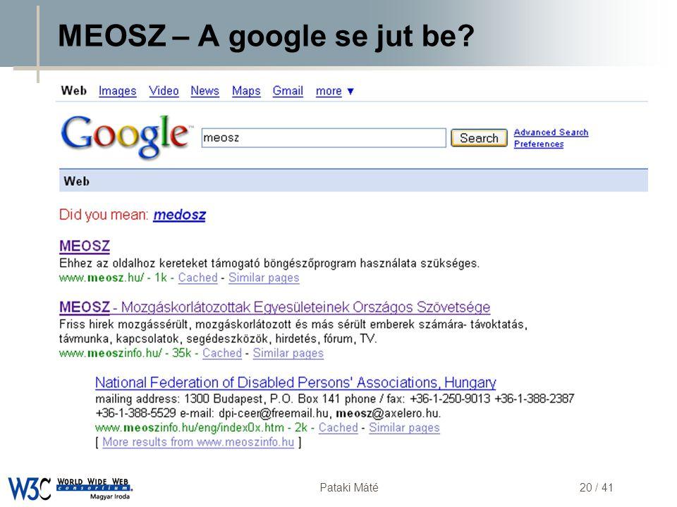 DSD Pataki Máté20 / 41 MEOSZ – A google se jut be?