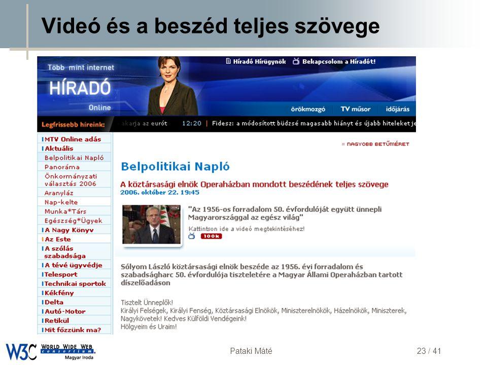 DSD Pataki Máté23 / 41 Videó és a beszéd teljes szövege