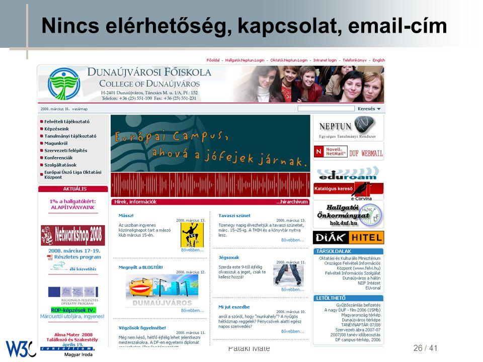 DSD Pataki Máté26 / 41 Nincs elérhetőség, kapcsolat, email-cím