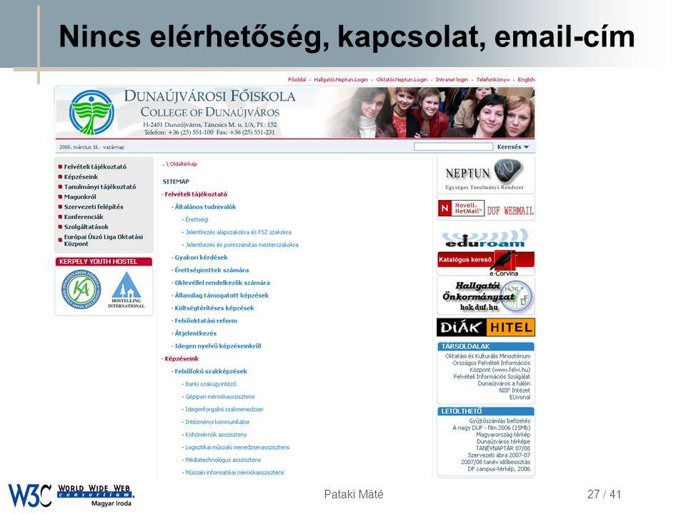 DSD Pataki Máté27 / 41 Nincs elérhetőség, kapcsolat, email-cím