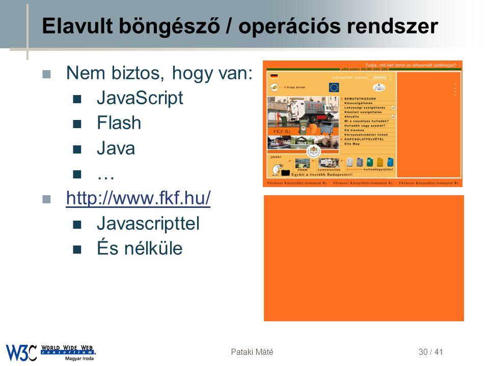 DSD Pataki Máté30 / 41 Elavult böngésző / operációs rendszer  Nem biztos, hogy van:  JavaScript  Flash  Java  …  http://www.fkf.hu/ http://www.f